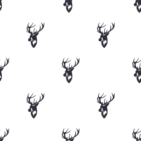 Deer head pattern. Wild animal symbols seamless background. Reindeer icons. Retro wallpaper. Vintage Stock illustration isolated on white background