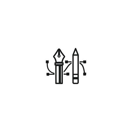 鉛筆とペン ツールのアイコン。描画ツールのシンボル。バッジ、デザインエージェンシー、フリーランサーのためのラベル。白い背景に隔離された