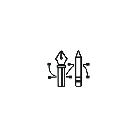Pencil and Pen Tool icon. Drawing tools symbol. Badge, label for design agency, freelancers. Stock illustration isolated on white background Stok Fotoğraf