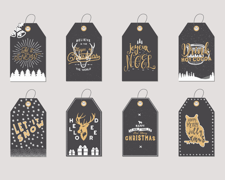 Merry Christmas and New Year gift tags collection. Holiday cards concept with xmas symbols - deer, snowflake, coffee cup, santa. Stock illustration isolated on white background. Trending colors