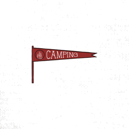 Camping pennant template. Vintage Hand drawn pennant in retro colors design. Best for t-shirts, travel mugs, backpack and any other identities. Stock vector isolated on white background.