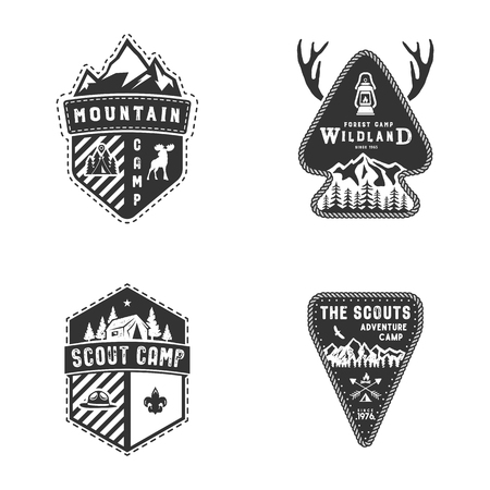 Travel badges, outdoor activity logo collection. Scout camps emblems. Vintage hand drawn travel badge design.