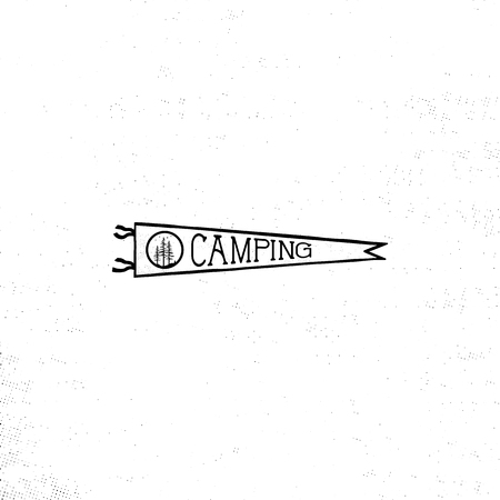 Camping pennant template. Vintage Hand drawn pennant in monochrome design. Stock vector isolated on white background Illustration