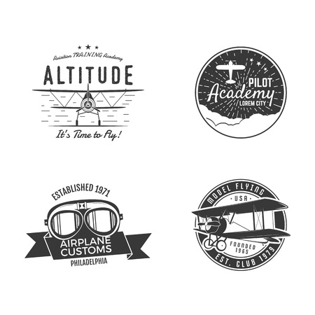 Vintage hand drawn old fly stamps. Travel or business airplane tour emblems. Airplane logo designs. Retro aerial badge. Pilot school logos. Plane tee design, prints. Stock vector stamps isolated.