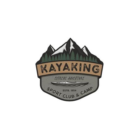 Kayaking vintage badge. Mountain explorer label. Outdoor adventure logo design. Travel and hipster insignia. Wilderness, forest camping emblem. Outdoor adventure logo template. Stock vector sticker Çizim