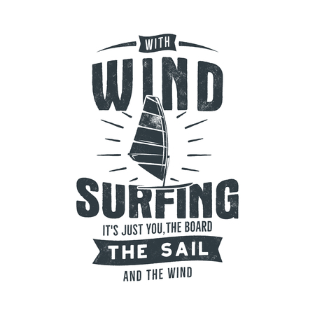 Vintage hand drawn windsurfing, kite surfing tee graphic design. Summer travel t-shirt. poster concept with retro surfboard and typography. Surfing tee design template. Stock vector print isolated.