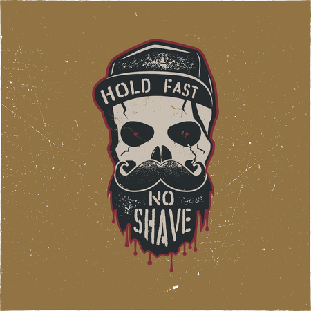 Skull character with blood stains, cap. Vintage hand drawn label, street style. Urban city attributes. No shave sign. Monochrome style. Hipster skull icon. Stock vector isolated on gold background.