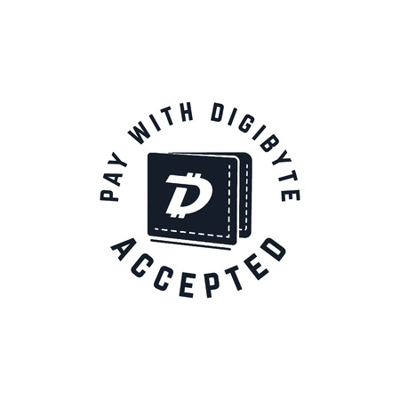 Digibyte digital asset accepted concept. DGB wallet. Vintage hand drawn crypto emblem. Blockchain technology sticker for printing. Stock tech illustration isolated on white background