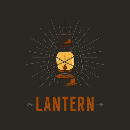 Vintage hand drawn lantern poster concept. Perfect for design, badge, camping labels. Retro colors. Symbol for outdoor activity emblems. Stock illustration isolated on black background Stock Photo