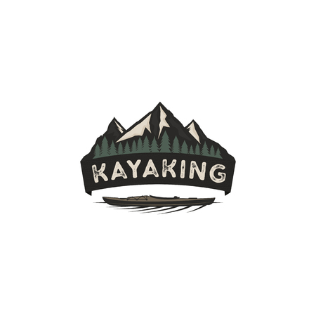 Kayaking vintage badge. Mountain explorer label. Outdoor adventure logo design. Wilderness, forest camping emblem. Outdoor adventure logo template. Stock vector.