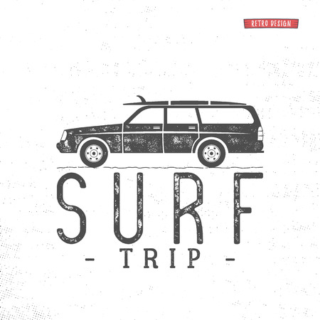 Surf trip concept Vector Summer surfing retro badge. Beach surfer emblem , motorcycle outdoors banner. Surfer icon design. For summer Logotype, label, party brochure. Stock vector poster isolated.