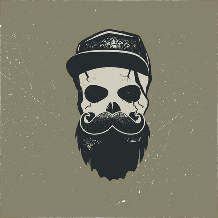 Skull character with blood stains, cap. Vintage hand drawn street style. Urban city attributes. No shave sign. Monochrome style. Hipster skull icon. Stock vector isolated on dark background Illustration