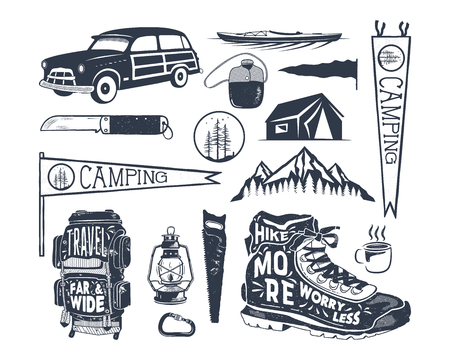 Vintage hand drawn adventure symbols, hiking, camping shapes of backpack, pennant, kayak, surf car, lantern. Retro monochrome design. For t shirts, prints. Stock vector silhouette icons isolated.