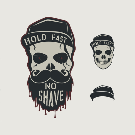 Skull head character. VIntage hand drawn design with cap, beard, mustache and words - hold fasy, no shave. Unusual hipster patch for barbershops poster. Stock vector isolated on retro background