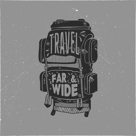Vintage hand drawn camper backpack design with words - travel far and wide. Retro silhouette rucksack symbol. Perfect for t shirt, poster print. Stock vector Stok Fotoğraf - 100230416