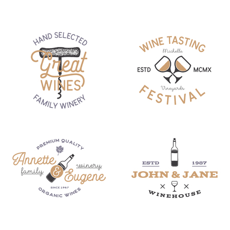 Wine shop badges templates in typography style perfect for winery, vineyard or any drink store. Retro monochrome design will be good on any identity - t shirts, prints, bottles. Stock vector labels