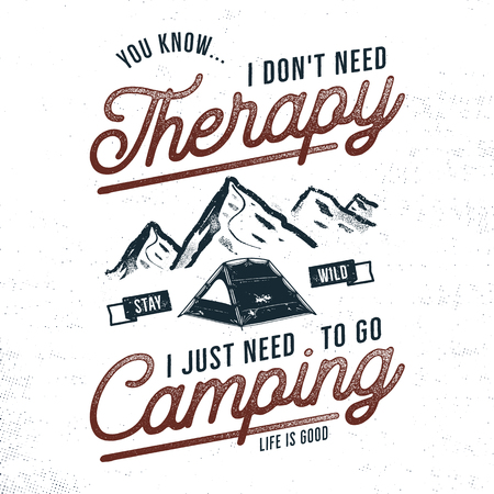 Vintage hand drawn camping t-shirt design. Wanderlust, thematic tee graphics. Typography poster with mountains and tent symbols. Life is good sign. Stock vector illustration Reklamní fotografie - 100260708