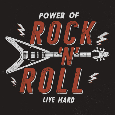 Vintage Hand Drawn Rock n Roll Poster, Retro Music Background. Musical Tee Graphics Design. Live Hard T-Shirt. Stock vector.