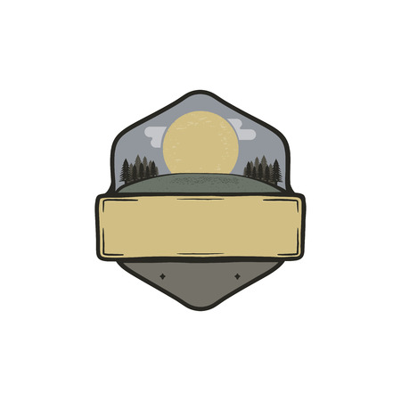 Vintage hand drawn national park badge, patch concept. Blank template. Paste your own texts. Camping adventure thematic. Stock vector isolated on white background.