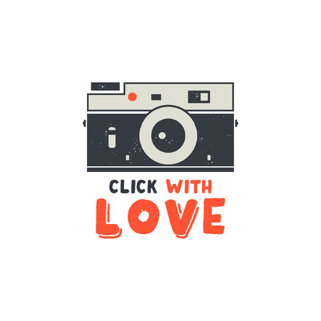 Retro Camera T-Shirt. Vintage hand drawn photography tee with Click with Love words. Distressed silhouette photographer print design. Stock vector isolated on white background.