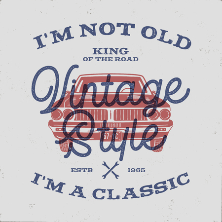 70 Birthday Anniversary Gift T-Shirt. I m not Old I m a Classic, King of the Road words with classic car. Born in 1948. Distressed retro style poster, tee. Stock vector isolated on vintage