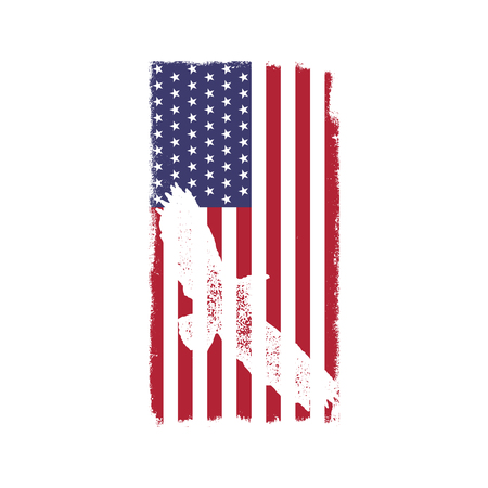 USA American National Flag in disstressed white style. Vintage design with eagle. Perfect for T-Shirt, poster, cards. America symbol. Stock vector illustration isolated on white background