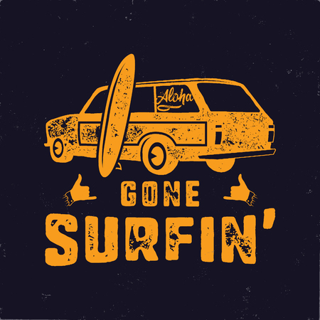 Vintage hand drawn summer T-Shirt. Gone surfing with surf old car, van and shaka sign. Perfect for tee, mug or any other prints. Stock vector illustration