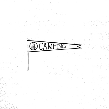 Camping pennant template. Vintage Hand drawn pennant in monochrome design. Best for t-shirts, travel mugs, backpack and any other identity. Stock vector isolated on white background. Çizim