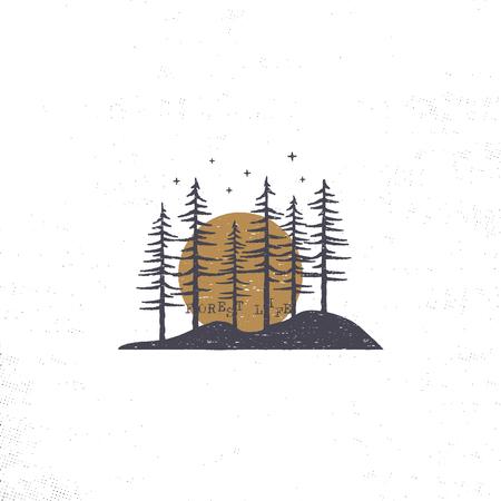 Hand getekend bos met zon concept. Pijnbomen getextureerde illustratie met sterren.