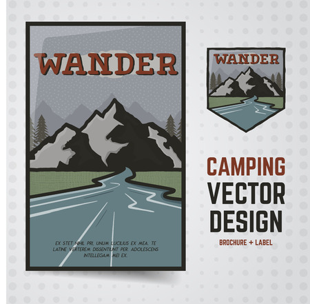 Camping adventure . Travel brochure and label.