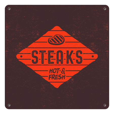 Steaks old style patch. BBQ retro poster. Barbecue t shirt design. Letterpress effect, old style colors. BBQ badge template. Stock