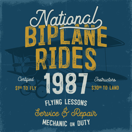 Vintage hand drawn tee graphic design. National Biplane Rides quote.
