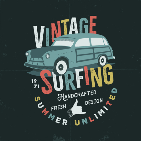 Vintage hand drawn tee print design with retro surf car, shaka sign and typography elements. Stock Photo