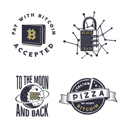 Blockchain, bitcoin, crypto currencies emblems and concepts set . Digital assets logos. Zdjęcie Seryjne