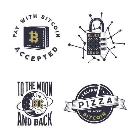 Blockchain, bitcoin, crypto currencies emblems and concepts set . Digital assets logos. Stock Photo