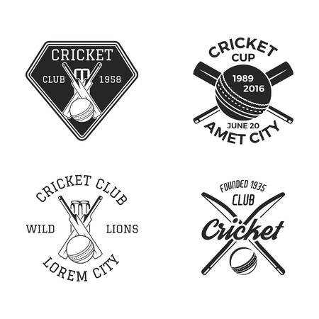 Cricket set, sports template emblems elements - ball, bat. Banco de Imagens