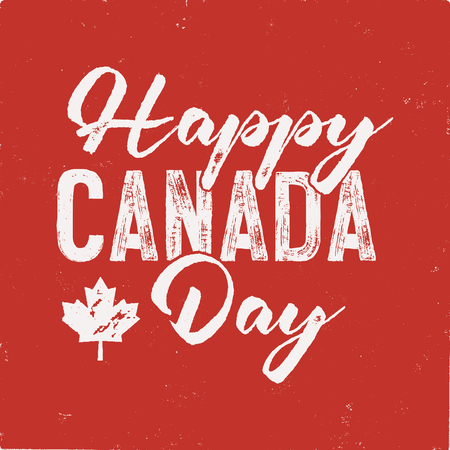 Happy Canada Day T-Shirt for Gift. Distressed Maple Leaf with text. Read and White National Colors.