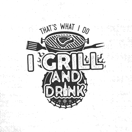 Thats what i do i drink and grill things retro bbq tshirt design.