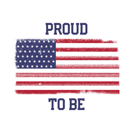 USA American National Flag in disstressed style. Vintage design with words - Proud to Be. Фото со стока - 102499039