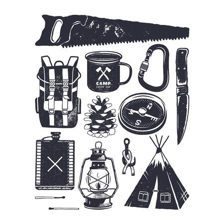 Vintage hand drawn camping symbols. Hiking icons in retro monochrome style.
