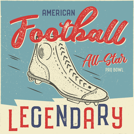 Classic usa football t shirt design. American football tee graphic design.