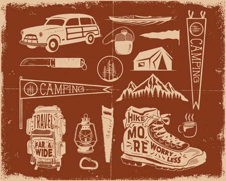 Vintage hand drawn adventure symbols, hiking, camping shapes of backpack, pennant, kayak, surf car, lantern and others. Imagens - 102498491