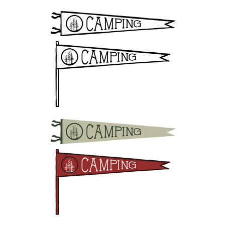 Camping pennants templates. Vintage Hand drawn pendants in retro colors design.