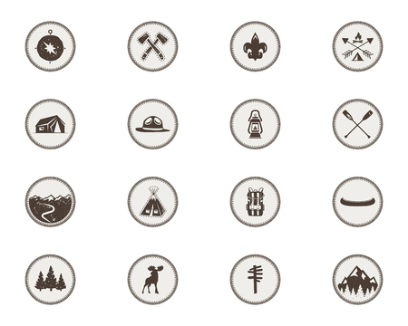 Boy scouts icons, patches. The full bundle. Camping stickers.