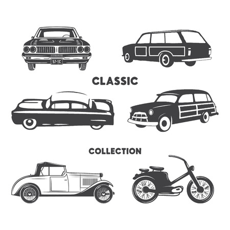 Classic cars, vintage car icons, symbols set.Vintage hand drawn cars, muscle, motorcycle elements. 写真素材