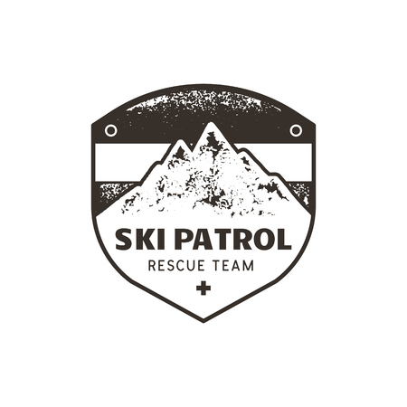 Vintage hand drawn mountain ski patrol emblem. Rescue team patch. Mountains stamp. Monochrome, grunge letterpress effect. Imagens