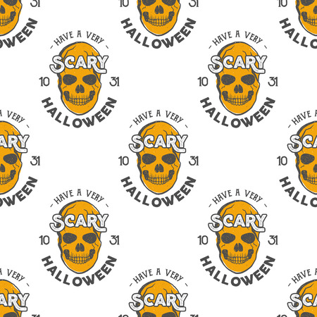 Halloween skulls seamless pattern with holiday wish typography. Scary halloween wallpaper.