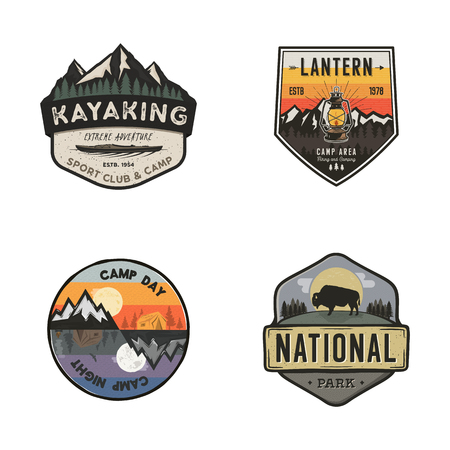 Set of vintage hand drawn travel logos. Hiking labels concepts. Mountain expedition badge designs. Travel logos, camp logotypes collection. Stock retro patches isolated on white background