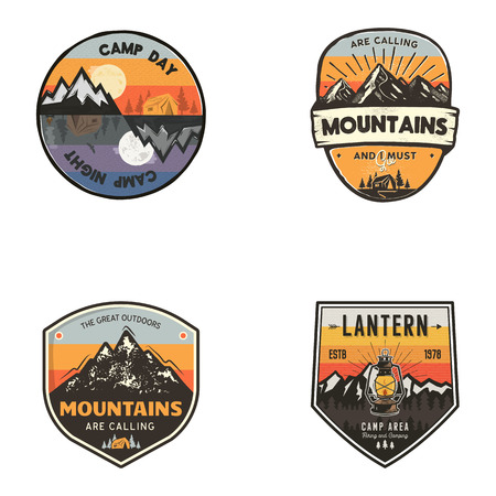 Set of vintage hand drawn travel logos. Hiking labels concepts. Mountain expedition badge designs. Travel logos, trekking logotypes collection. Stock retro patches isolated on white background