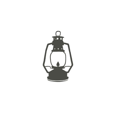 Camping lantern icon silhouette icon. Oil lamp black symbol, pictogram. Stock illustration isolated on white background